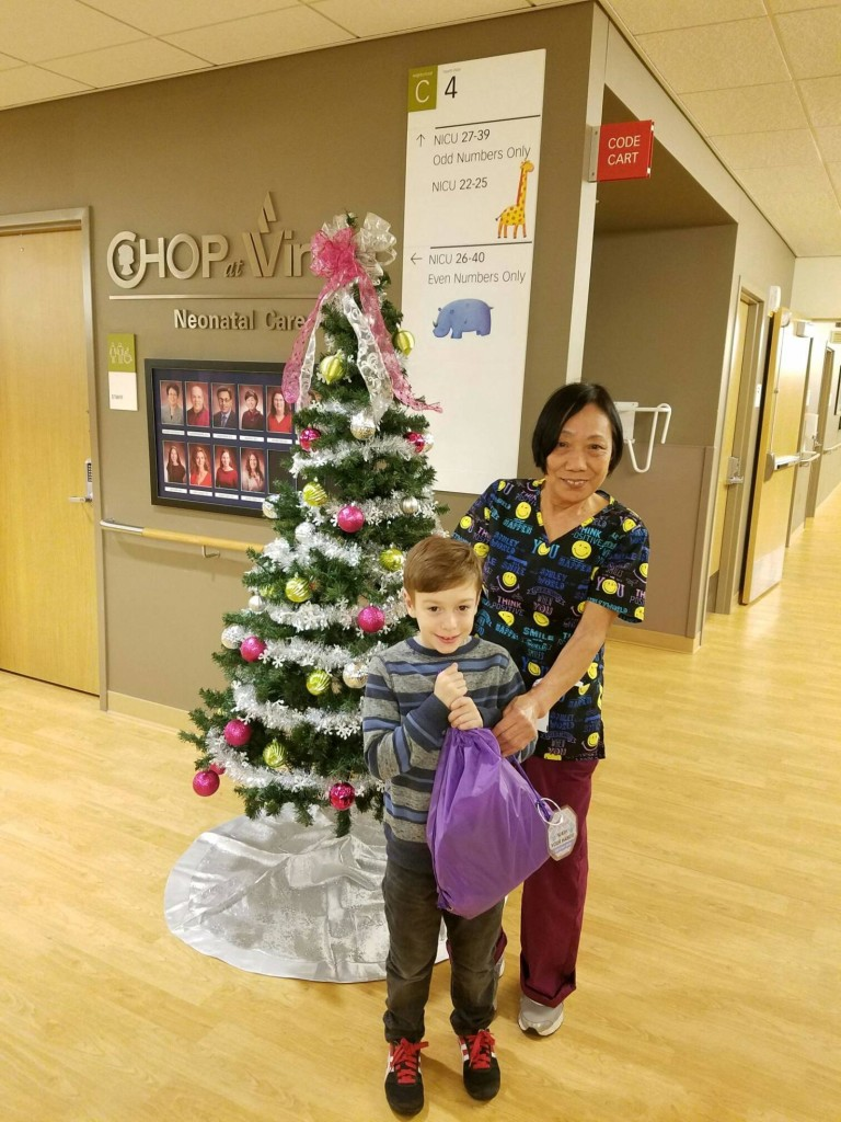 A member of the MOMS Club of Medford's son, who was born at 27 weeks 6 years ago and was a graduate of the NICU, helped his mother deliver the bags to the Virtua Voorhees NICU last week.